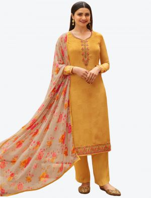 Pastel Yellow Embroidered Royal Crepe Straight Suit with Printed Dupatta small FABSL20518