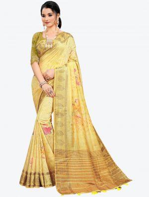 Pastel Yellow Woven Digital Printed South Cotton Designer Saree small FABSA21116