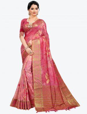Pink Woven Digital Printed South Cotton Designer Saree small FABSA21115
