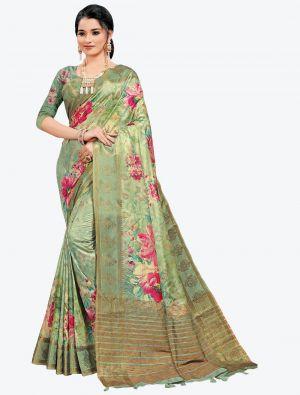 Pista Green Woven Digital Printed South Cotton Designer Saree small FABSA21119