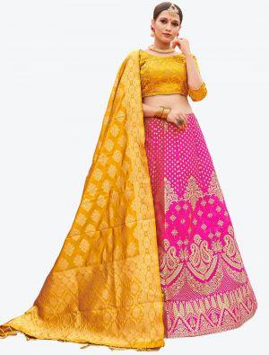 Rani Pink Banarasi Silk A Line Lehenga with Dupatta small FABLE20122