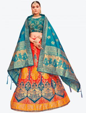 Reddish Orange Banarasi Silk A Line Lehenga with Dupatta small FABLE20118