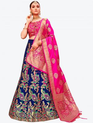 Royal Blue Banarasi Silk A Line Lehenga with Dupatta small FABLE20121