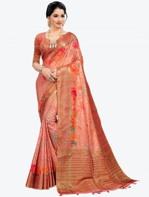 Rust Red Woven Digital Printed South Cotton Designer Saree small FABSA21118