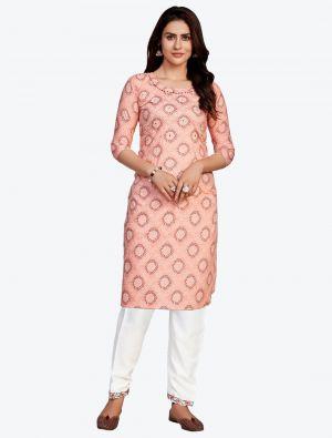 salmon fine rayon bandhej printed kurti with pant fabku20417