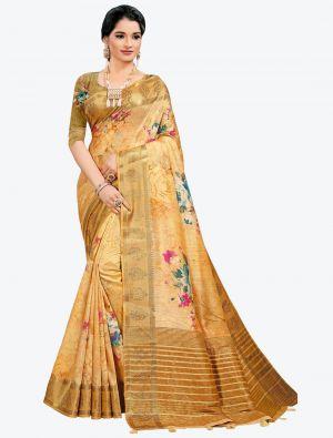 Shiny Yellow Woven Digital Printed South Cotton Designer Saree small FABSA21120