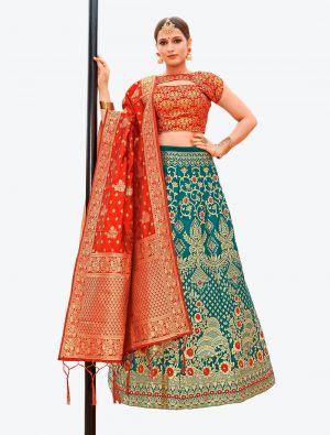 Teal Banarasi Silk A Line Lehenga with Dupatta small FABLE20123
