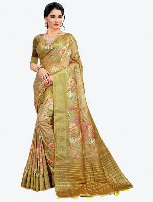 Yellowish Brown Woven Digital Printed South Cotton Designer Saree small FABSA21123