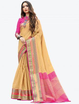 Beige Woven Handloom Cotton Designer Saree small FABSA21179