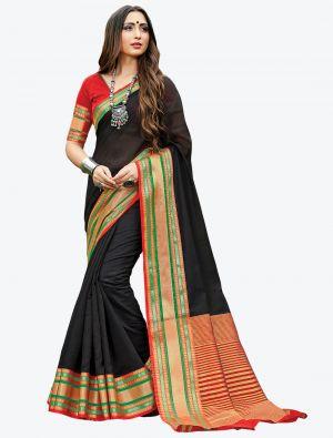 Black Woven Handloom Cotton Designer Saree small FABSA21174