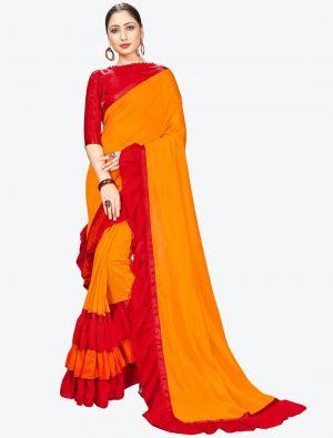 Bright Orange Ruffle Frill Fine Georgette Designer Saree small FABSA21158