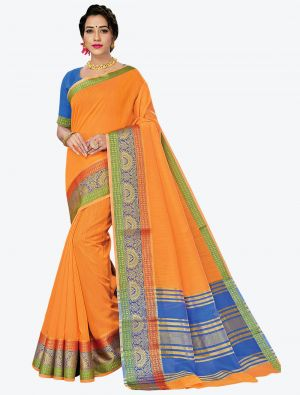 Bright Orange Woven Handloom Cotton Designer Saree small FABSA21180