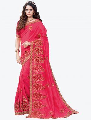 Bright Pink Embroidered Vichitra Silk Designer Saree small FABSA21148