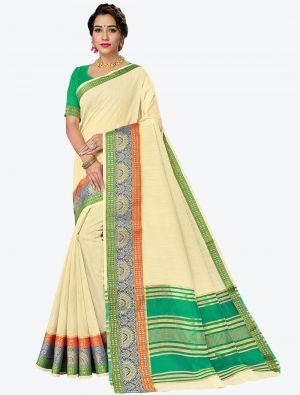 Cream Woven Handloom Cotton Designer Saree small FABSA21183
