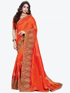 Dark Orange Embroidered Vichitra Silk Designer Saree small FABSA21146