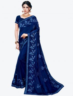 Deep Blue Embroidered Vichitra Silk Designer Saree small FABSA21145