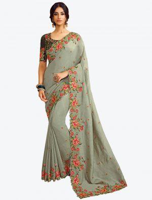 Light Grey Resham Embroidered Vichitra Silk Designer Saree small FABSA21142
