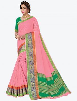 Light Pink Woven Handloom Cotton Designer Saree small FABSA21182