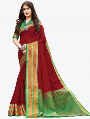 Maroon Woven Handloom Cotton Designer Saree small FABSA21177