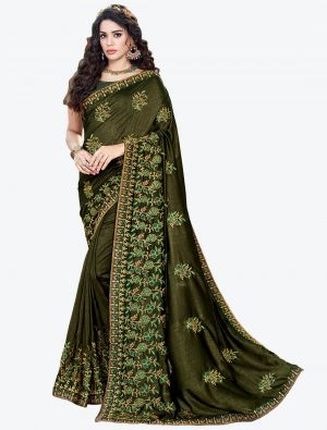 Mehendi Green Embroidered Vichitra Silk Designer Saree small FABSA21147