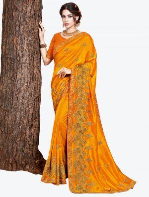 Mustard Yellow Embroidered Vichitra Silk Designer Saree small FABSA21151