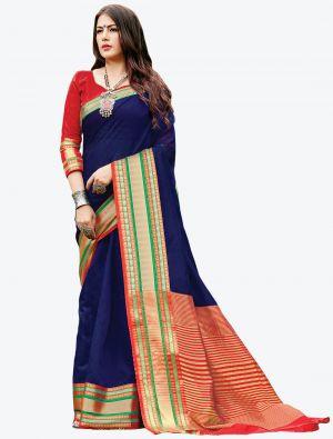 Navy Blue Woven Handloom Cotton Designer Saree small FABSA21178
