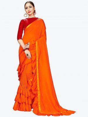Orange Ruffle Frill Fine Georgette Designer Saree small FABSA21163