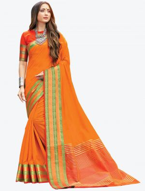 Orange Woven Handloom Cotton Designer Saree small FABSA21176