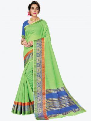Pastel Green Woven Handloom Cotton Designer Saree small FABSA21181