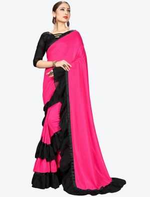 Pink Ruffle Frill Fine Georgette Designer Saree small FABSA21156