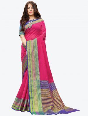 Pink Woven Handloom Cotton Designer Saree small FABSA21175