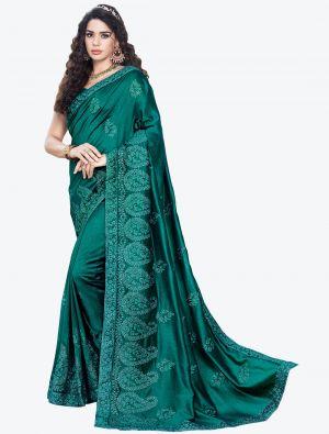Rama Green Embroidered Vichitra Silk Designer Saree small FABSA21150