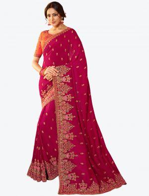 Rani Pink Resham Embroidered Vichitra Silk Designer Saree small FABSA21144