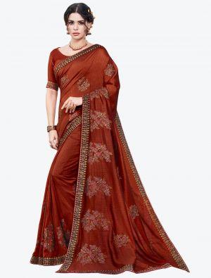 Rusty Brown Embroidered Vichitra Silk Designer Saree small FABSA21149