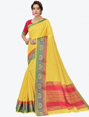 Yellow Woven Handloom Cotton Designer Saree small FABSA21184