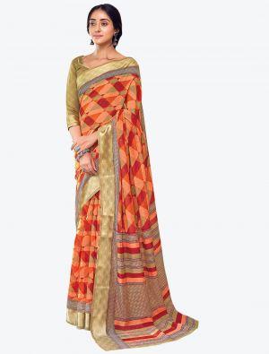 Bright Orange Printed And Woven Pure Cotton Designer Saree small FABSA21186