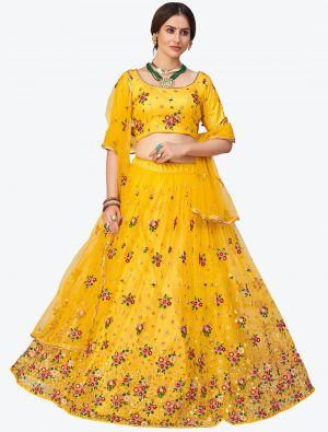 Bright Yellow Soft Net Festive Wear Designer Lehenga Choli small FABLE20140