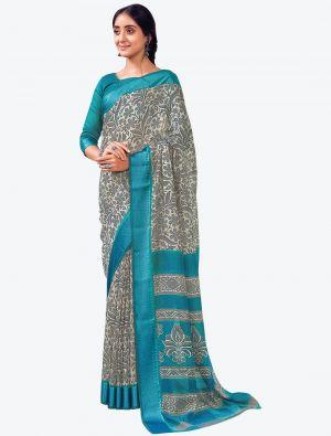 Creamy Grey Printed And Woven Pure Cotton Designer Saree small FABSA21190