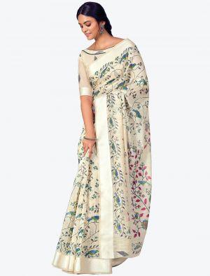 Creamy White Printed And Woven Pure Cotton Designer Saree small FABSA21187