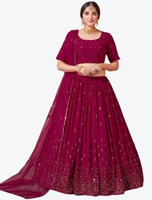 Dark Pink Fine Georgette Festive Wear Designer Lehenga Choli small FABLE20145