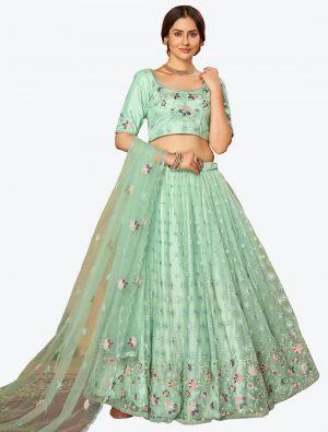 Mint Green Soft Net Festive Wear Designer Lehenga Choli small FABLE20138
