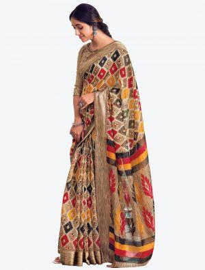Multicolor Printed And Woven Pure Cotton Designer Saree small FABSA21189