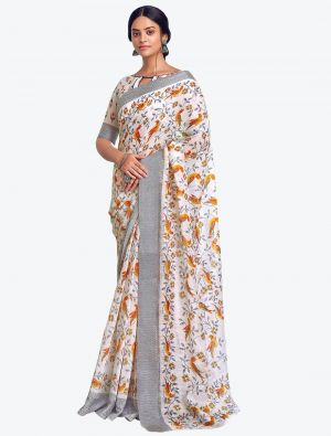Off White Printed And Woven Pure Cotton Designer Saree small FABSA21191