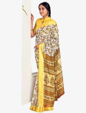 Pale White Printed And Woven Pure Cotton Designer Saree small FABSA21193