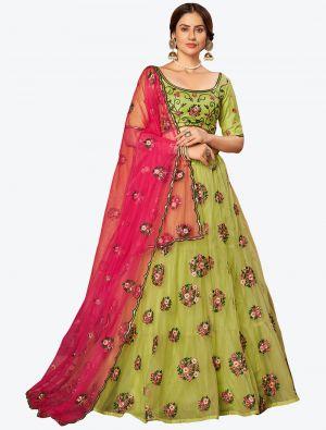 Parrot Green Soft Net Festive Wear Designer Lehenga Choli small FABLE20136