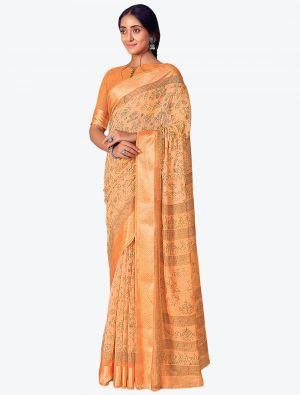 Pastel Orange Printed And Woven Pure Cotton Designer Saree small FABSA21188
