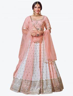 Pink And White Fine Georgette Festive Wear Designer Lehenga Choli small FABLE20147