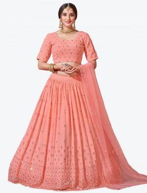 Pinkish Peach Fine Georgette Festive Wear Designer Lehenga Choli small FABLE20143