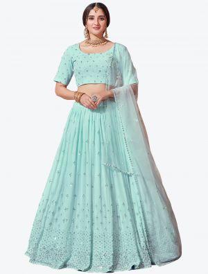 Sky Blue Fine Georgette Festive Wear Designer Lehenga Choli small FABLE20144