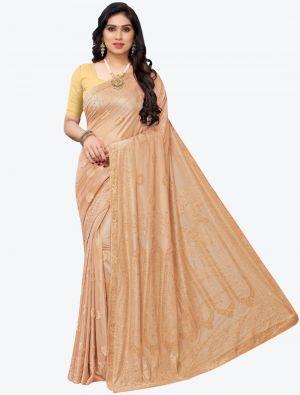 Beige Lycra Designer Saree small FABSA20943